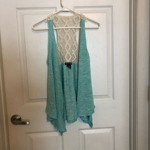 Miss Chievous teal sleeveless throw, M